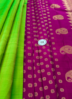 Bright purple with parrot green Pure Silk Saree