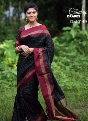 Black and Red Checkered Saree
