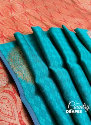 Sea Blue with Red Handloom Silk Saree